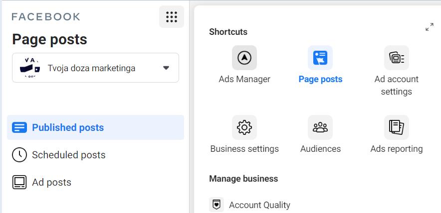 Kako do ads menadžera